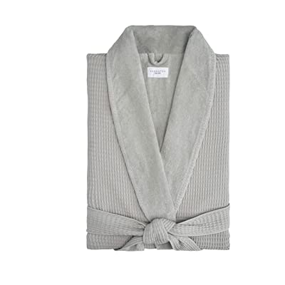 Waffle Terry Bathrobe Collection, 100% Cotton, Made in Turkey (Beige Waffle Outside, Thick Terry Inside at Men's Clothing store