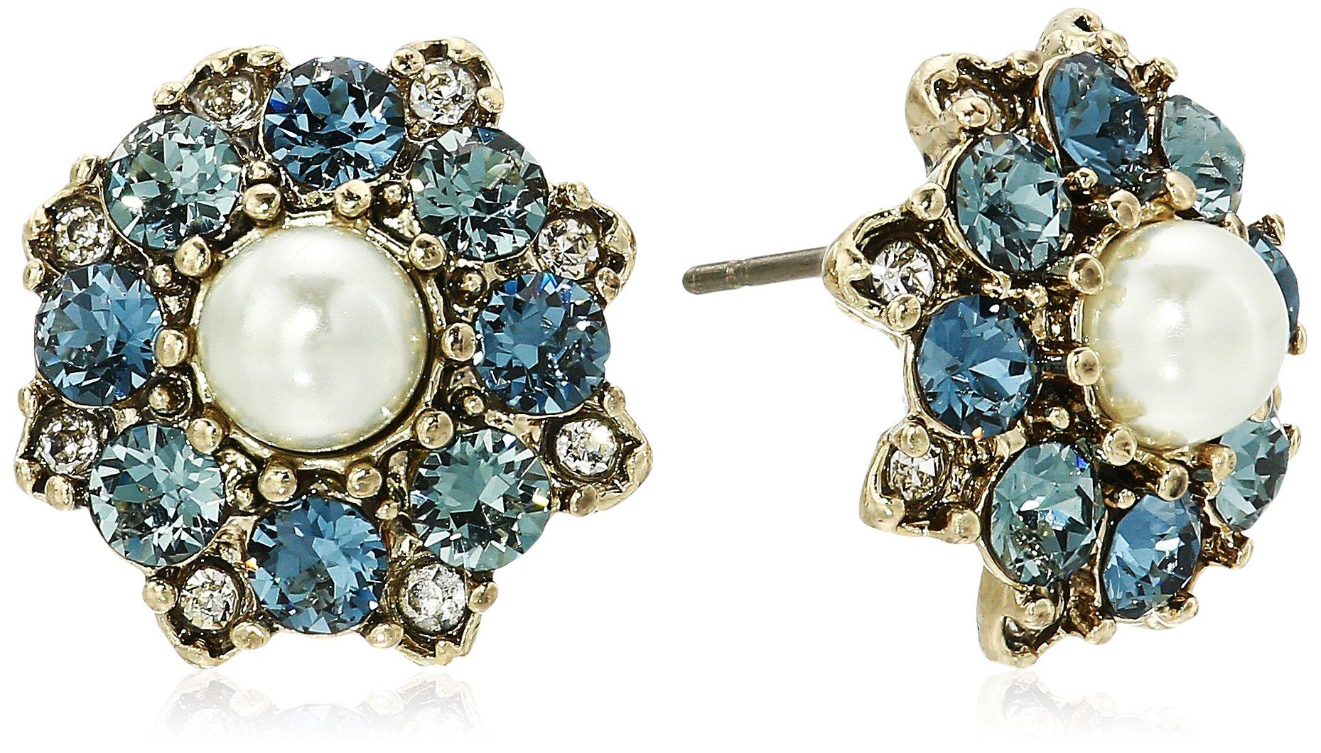 Marchesa Women's Gold/Blue Multi Cluster Stud Earrings, One Size