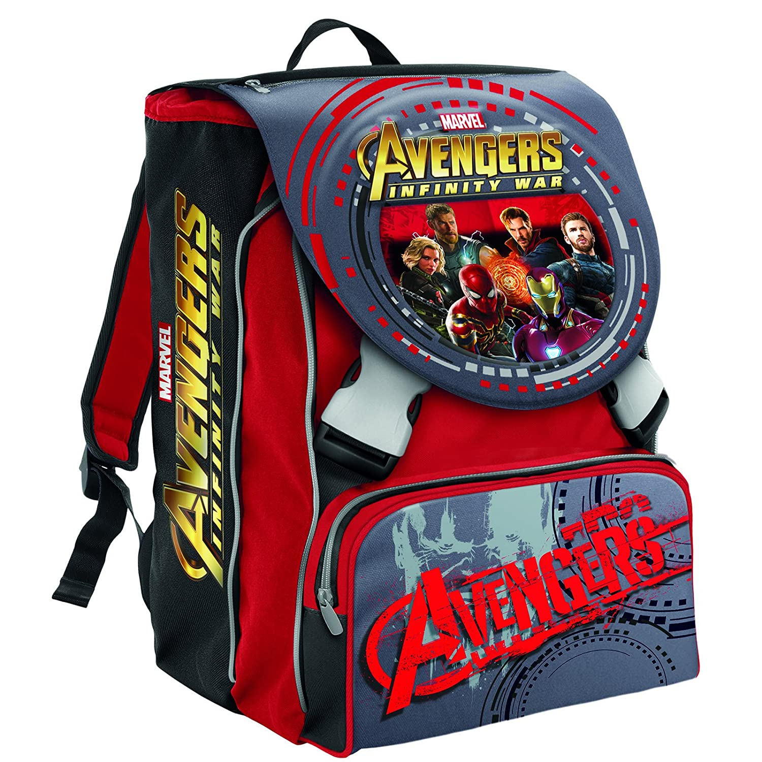 School Expandable Backpack Marvel AVENGERS INFINITY WAR , Red 28 Lt – 2 Browsable 3D Flaps + Gadget included