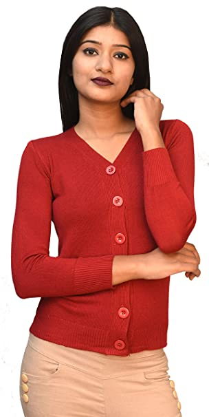a36b01a83a861b Otia 6 Button Woolen Blouse - Maroon Cardigan for Women Ladies Girls -  Stylish Winter Wear Sweater for Saree Jeans - Free Size 3/4 Sleeve Party Top:  ...