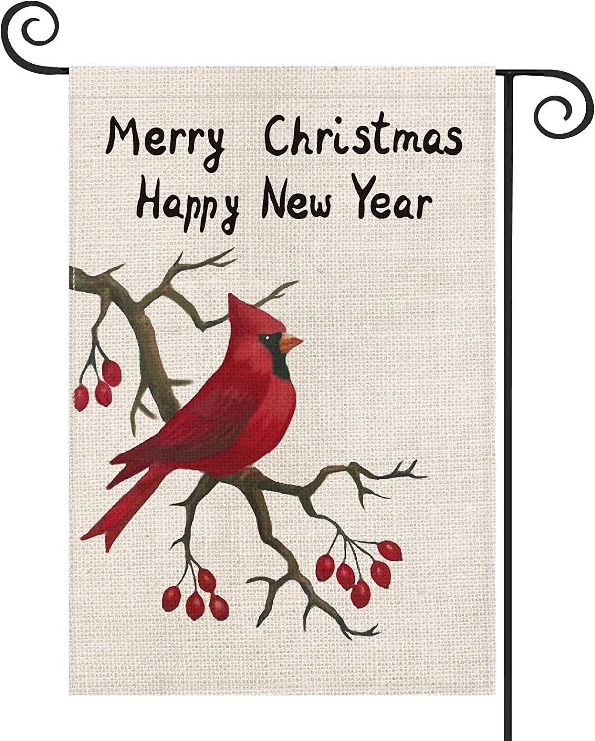 AVOIN Merry Christmas Happy New Year Watercolor Cardinal Berry Garden Flag Vertical Double Sized, Winter Holiday Party Yard Outdoor Decoration 12.5 x 18 Inch