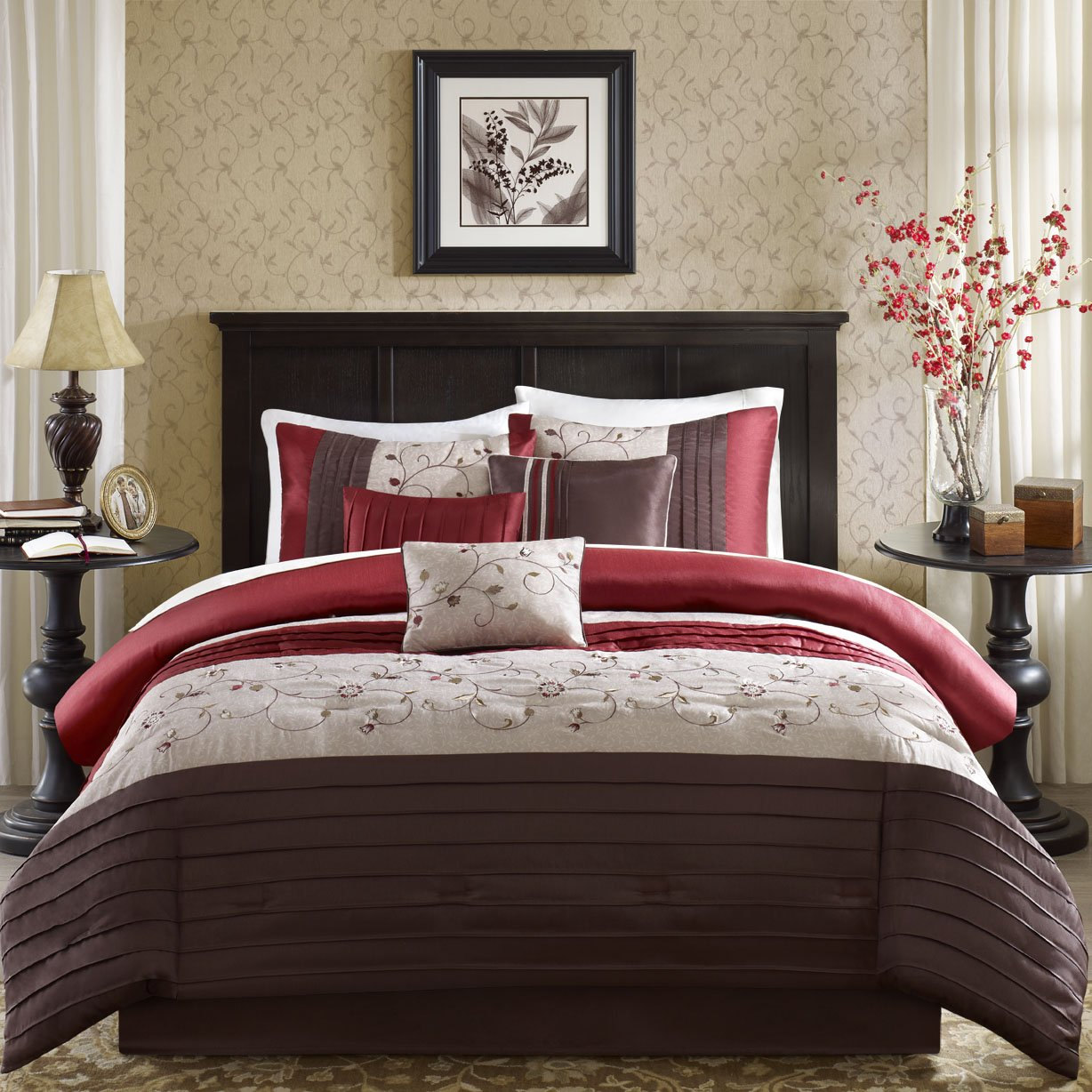 amazoncom madison park serene 6 piece duvet cover set red kingcal king embroidred includes 1 duvet cover 2 king shams3 decorative pillows