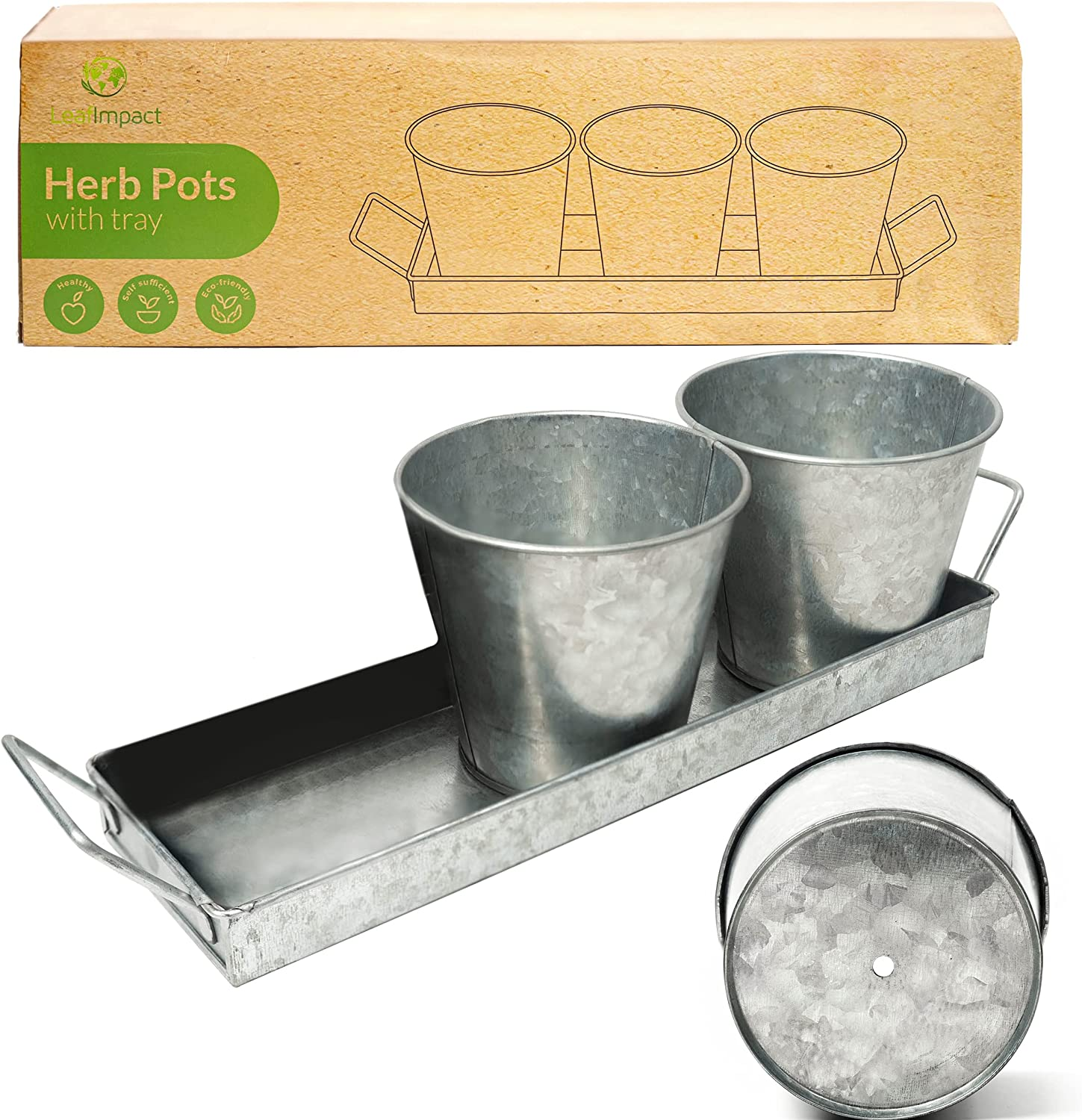 Herb Pots for Indoor Plants with Tray | Grow Fresh Herbs at Home | Galvanized Window Sill Planters Indoor | Indoor Herb Planter | Windowsill Plant Tray for Growing Basil, Mint, Parsley and More