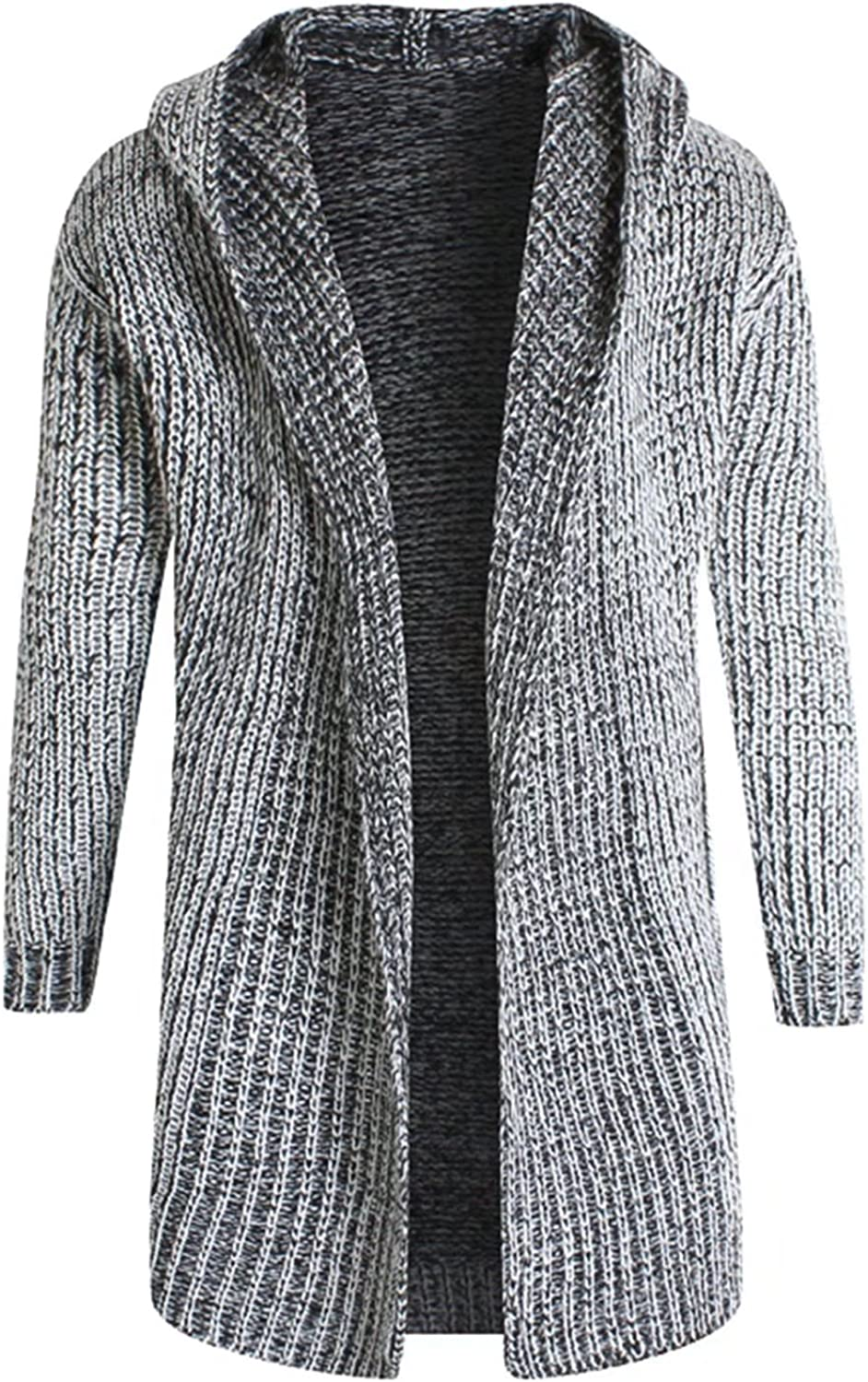 Mioubeila Mens Open Front Knit Hoodie Long Cardigan Sweater