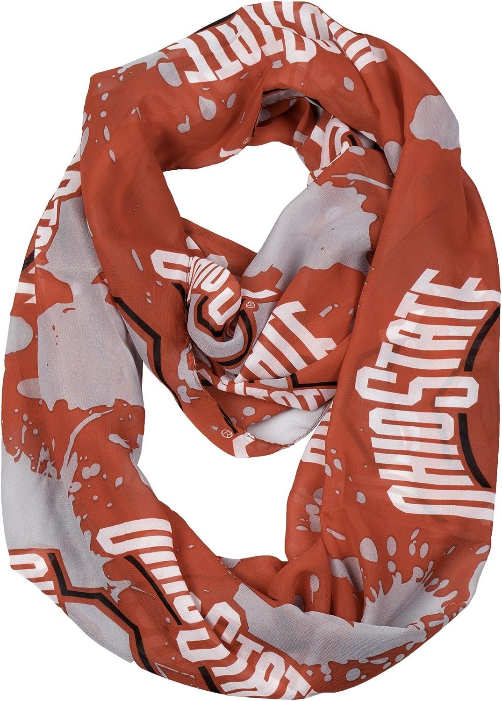 "NCAA Ohio State Buckeyes SilkyインフィニティスカーフSpatter、レッド、70 "" x 25 """