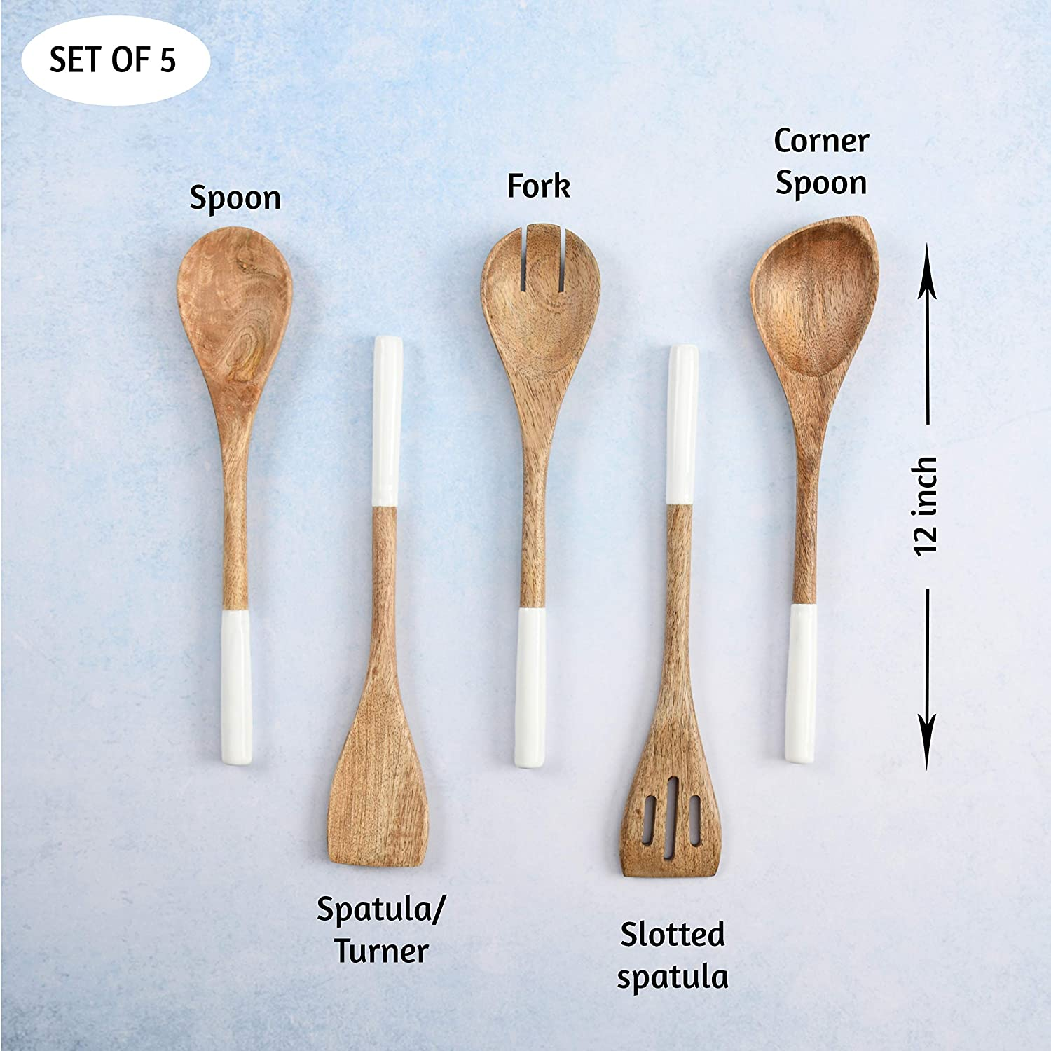 Angled Wooden Utensils Kitchen Set of Spatula Turner Slotted,12 inches Flat