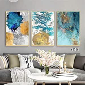 3 Pieces Modern Wall Art Nordic Minimalist Abstraction Posters Decor Picture Printed Canvas Artist Home Decor Artwork Wall Decoration for Living Room with Wooden Frame Ready to Hang