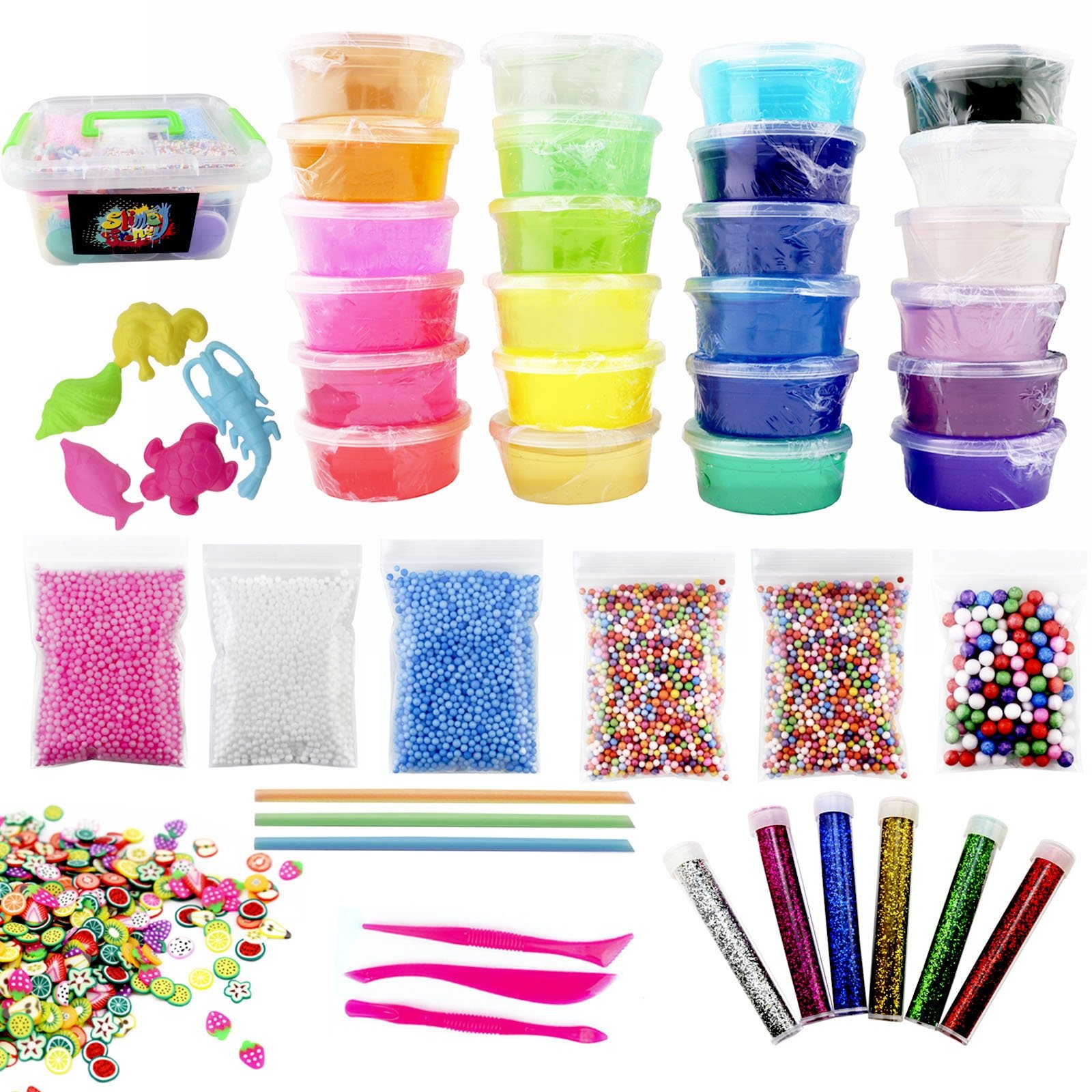 48 Piece Slime Kit for Making DIY Crystal Clear Rainbow Unicorn Slime 24 Colors Slime 6 Pack Foam Beads 5 Animal Molds Fruit Slices and Glitter Accessories for Boys and Girls for an Ultimate Slime Kit