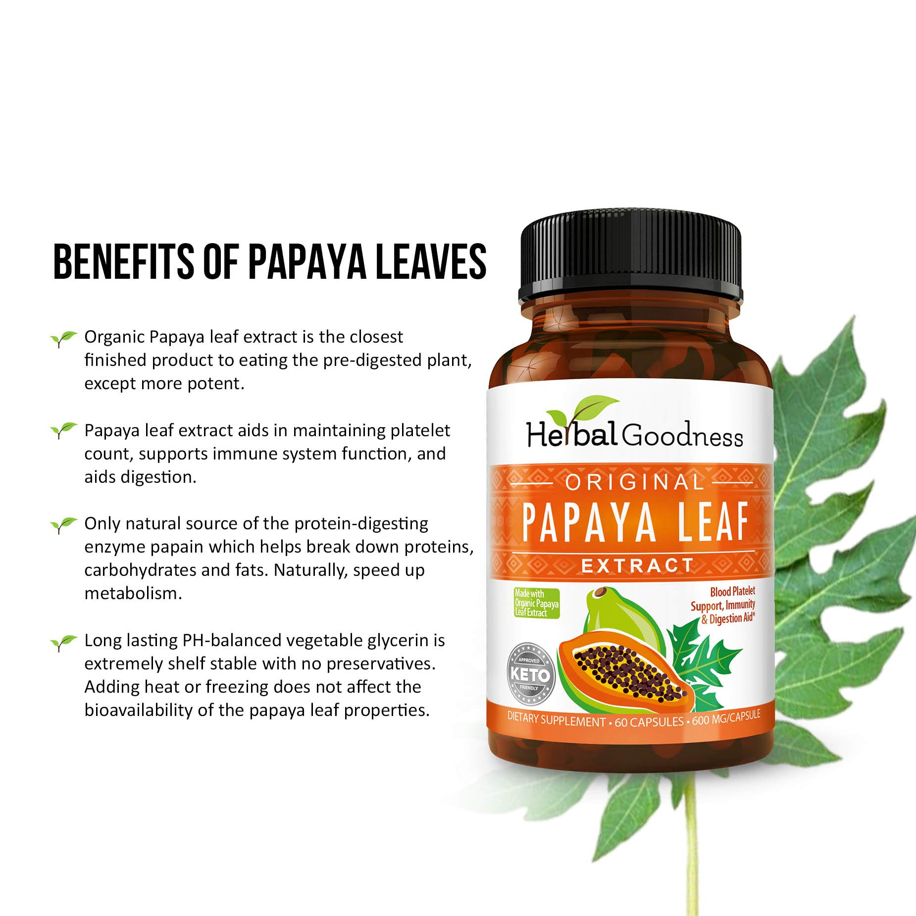 Papaya Leaf Extract - Natural Blood Platelet Level Boost, Bone Marrow Support