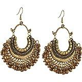 Zephyrr Fashion German Silver Beaded Turkish Style Chandbali Earrings Jewellery for Women