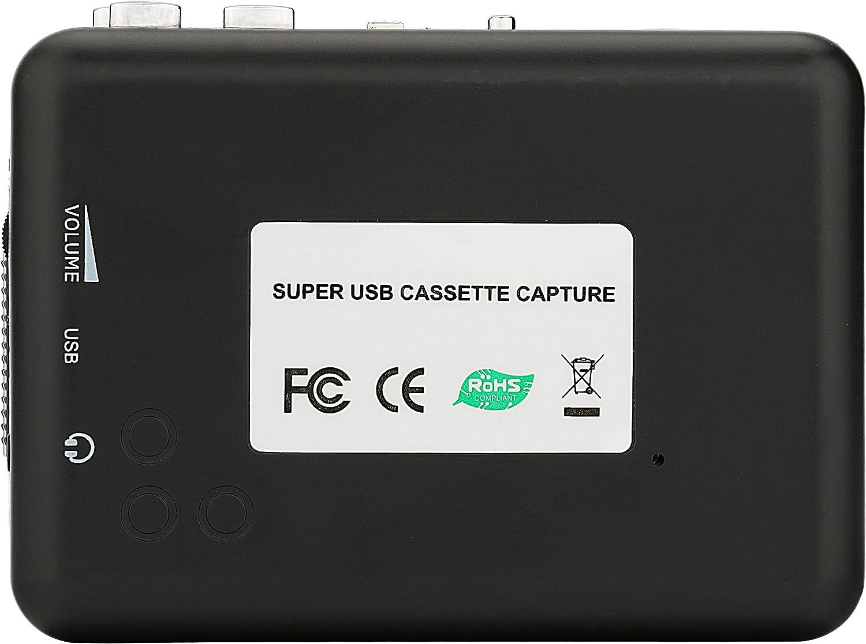 Reshow Lecteur Cassette Convertir Cassettes de Bande Walkman au Format Compatible avec Les Ordinateurs Portables et Les PC Lecteur Cassette Portable pour Capturer la Musique Audio MP3 Via USB