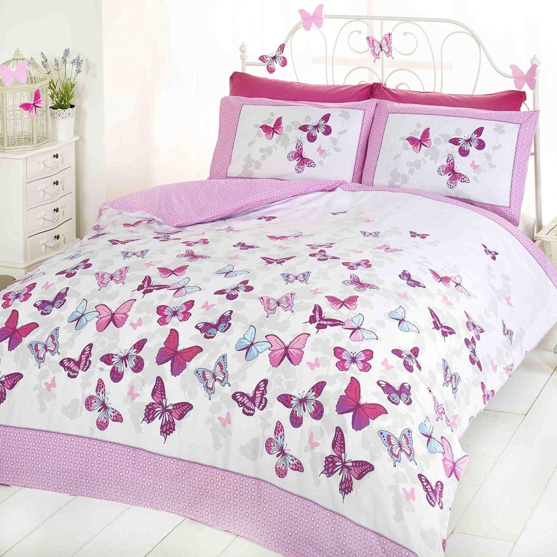 Double Size Dream Patchwork Duvet Cover Bedding Set Pink Flowers Butterflies UK