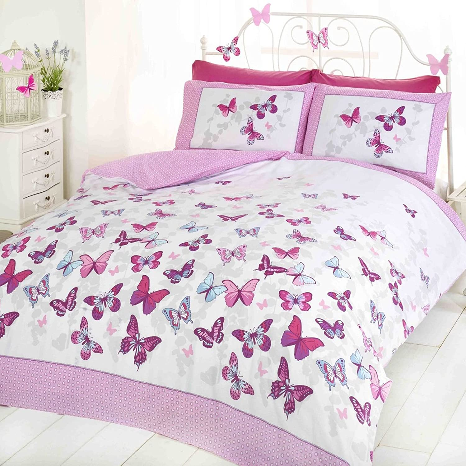 Butterfly Duvet Set - Pink - Double Bed Size Bedding Cover Set by Blast Off Rapport 5027491037709