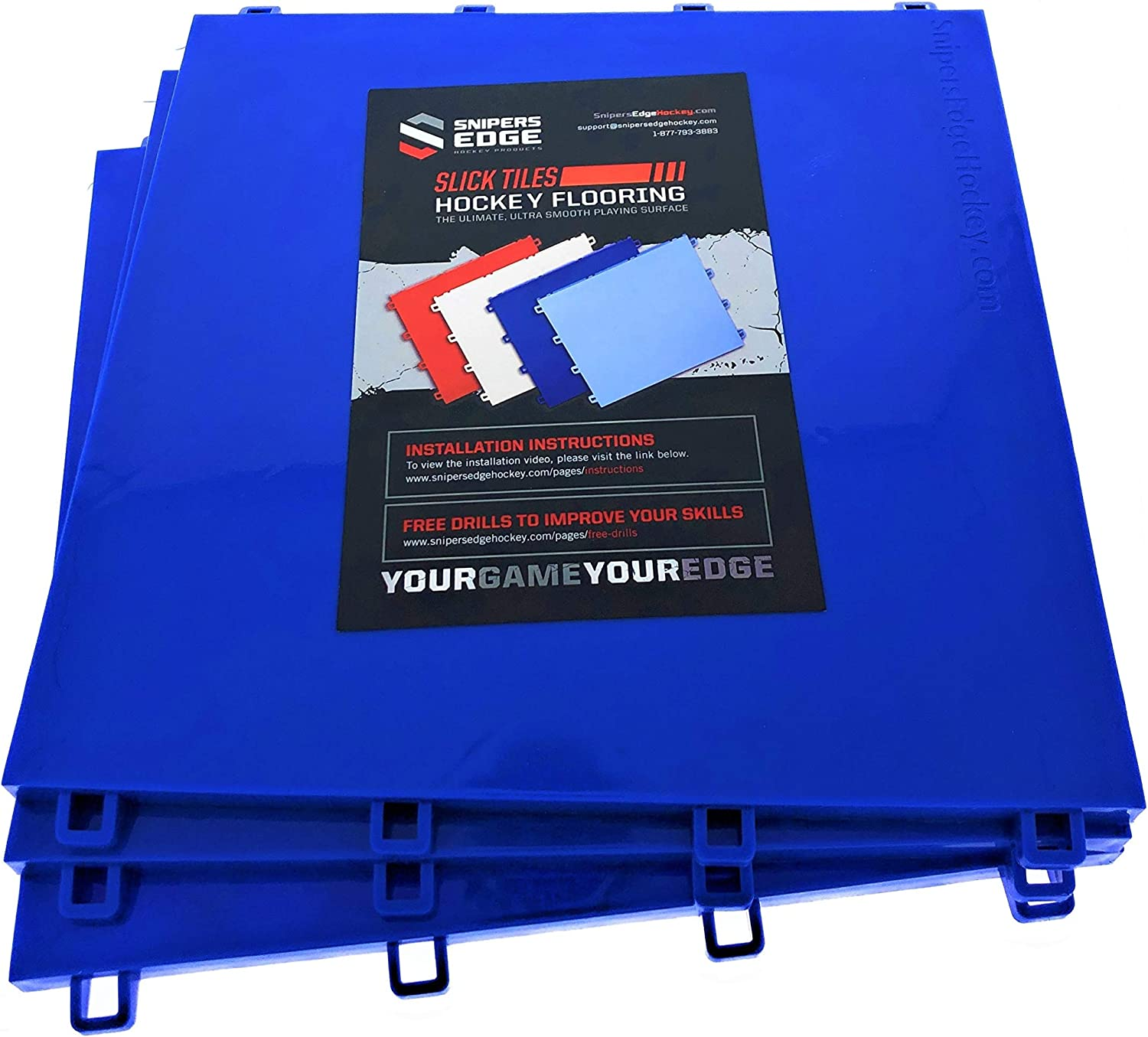 """Sniper's Edge Hockey Dryland Slick Tiles (10 Blue Squares) – Premium Grade Technology with UV Coated Protection, Built to Last & Sized Right at 12"""" X 12"""" Per Tile (10 sq ft. per Box) – Made in USA : Sports & Outdoors"""