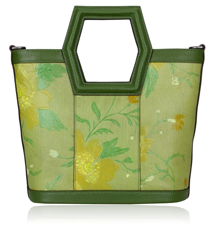 Pijushi Women's Ladies Genuine Leather Tote Purse Top Handle Shoulder Crossbody Handbags 170503 (New Green)