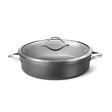 Calphalon Contemporary Hard-Anodized Aluminum Nonstick Cookware, Sauteuse Pan, 7-quart, Black