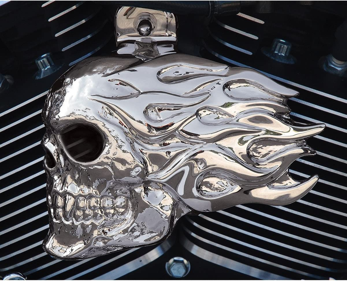 Chrome /& Black Flame Horn Cover Replacement for Harley-Davidson