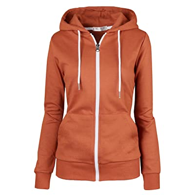 MAJECLO Women's Slim Fit Casual Full-Zip Hooded Lightweight Long Sleeve Sweatshirt at Women's Clothing store