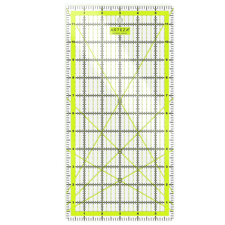 Righello per Quilting in Pollici - 6 x 12 Pollici - Righello da Sarto Trasparente Acrilico per Patchwork Arteza ARTZ-8126