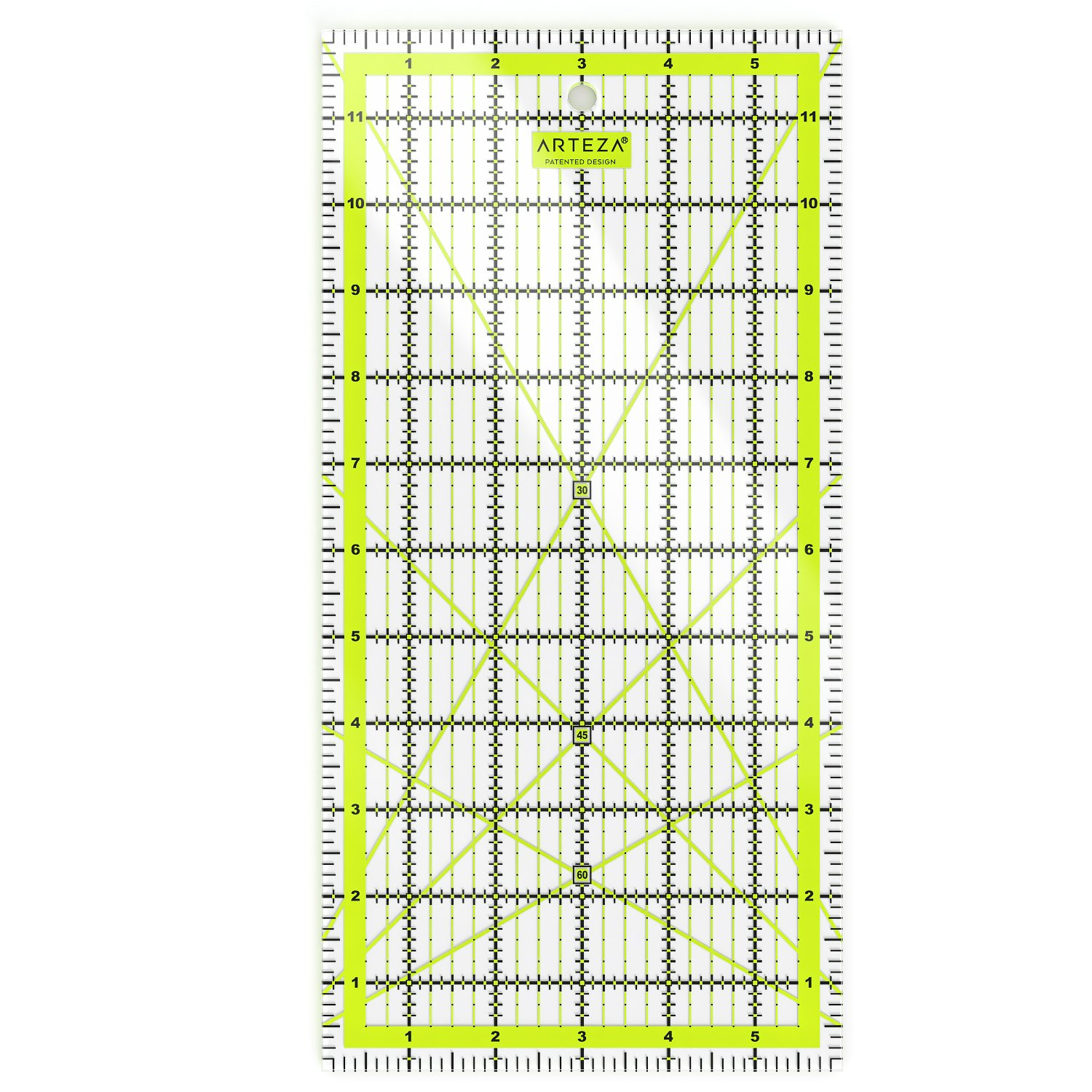 ARTEZA Quilting Ruler, Laser Cut Acrylic Quilters' Ruler with Patented Double Colored Grid Lines for Easy Precision Cutting, 6'' Wide x 12'' Long for Quilting, Sewing & Crafts, Black & Lime Green by ARTEZA