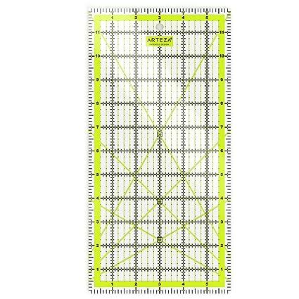 Tama/ño 6 x 6 ARTEZA Regla de acr/ílico para costura y patronaje Regla de patchwork L/íneas de cuadr/ícula en dos colores
