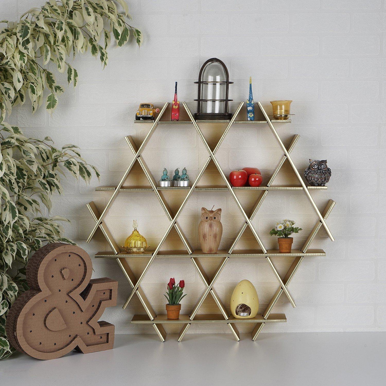 LaModaHome Cardboard Shelf 100% Corrugated Cardboard (45.3'' x 39.4'' x 6.7'') Gold Hexagon Triangle Decorative Ornament Living Room Storage Shelf Multi Purpose