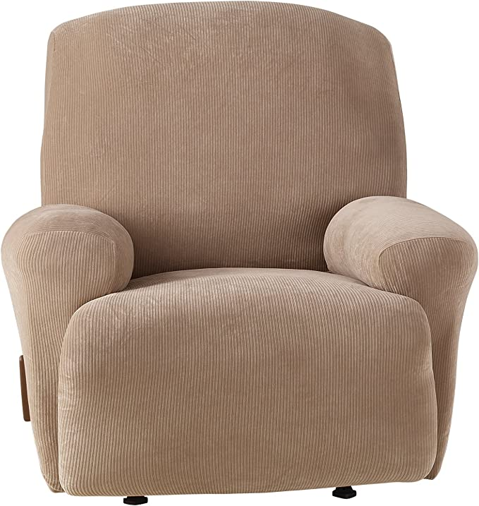 Sure Fit Stretch Mid-Weight Corduroy Recliner Cover - Taupe (SF45446)
