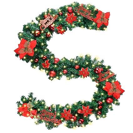 coxeer christmas garland 9 ft holiday graland flower artificial pine garland merry christmasfont