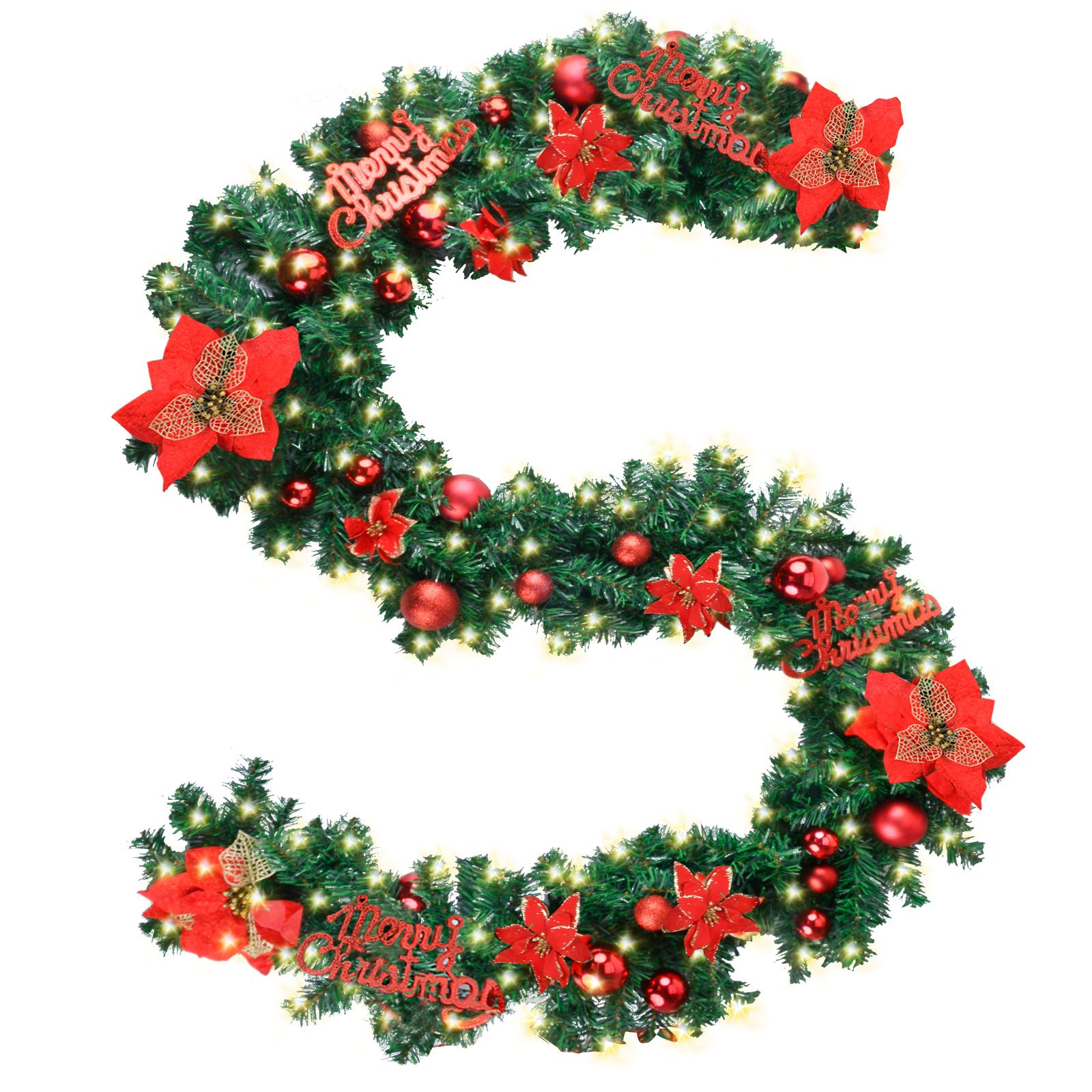 """Coxeer Christmas Garland, 9 Ft Holiday Graland Flower Artificial Pine Garland with """"Merry Christmas""""Font 100 Warm White Battery Operated LED Lights for Christmas Decor (Red)"""