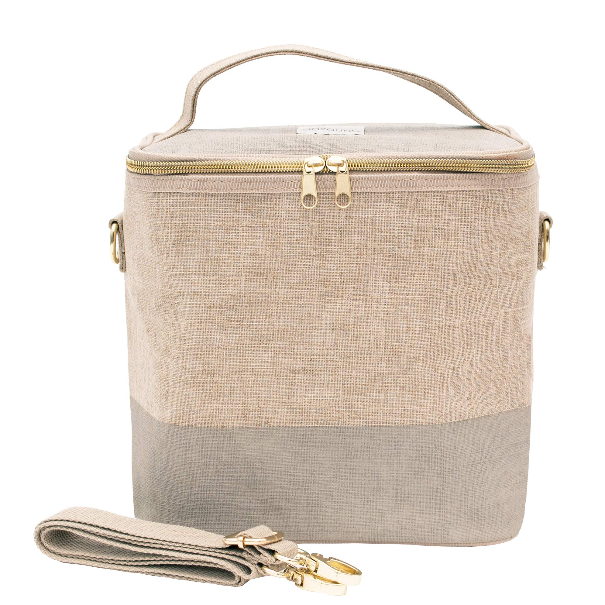 SoYoung Lunch Poche - Adult Lunch, Raw Linen, Eco-Friendly, Modern and Easy to Clean - Linen-Cement by SoYoung