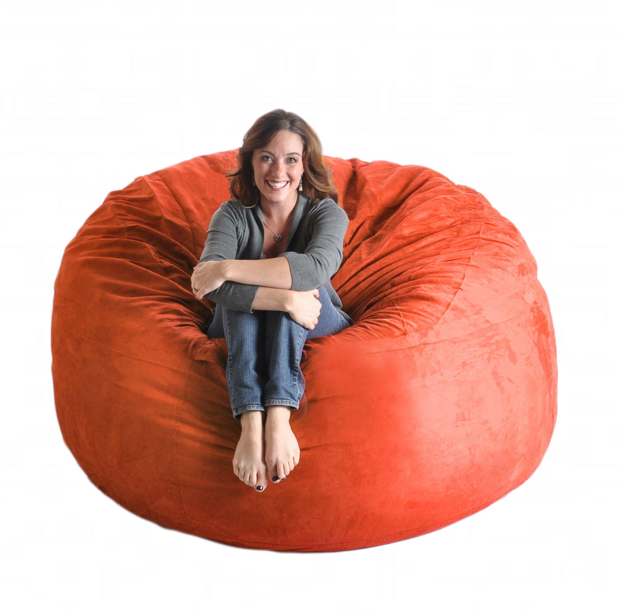 SLACKER sack 6-Feet Premium Memory Foam Microsuede Beanbag Chair, Orange
