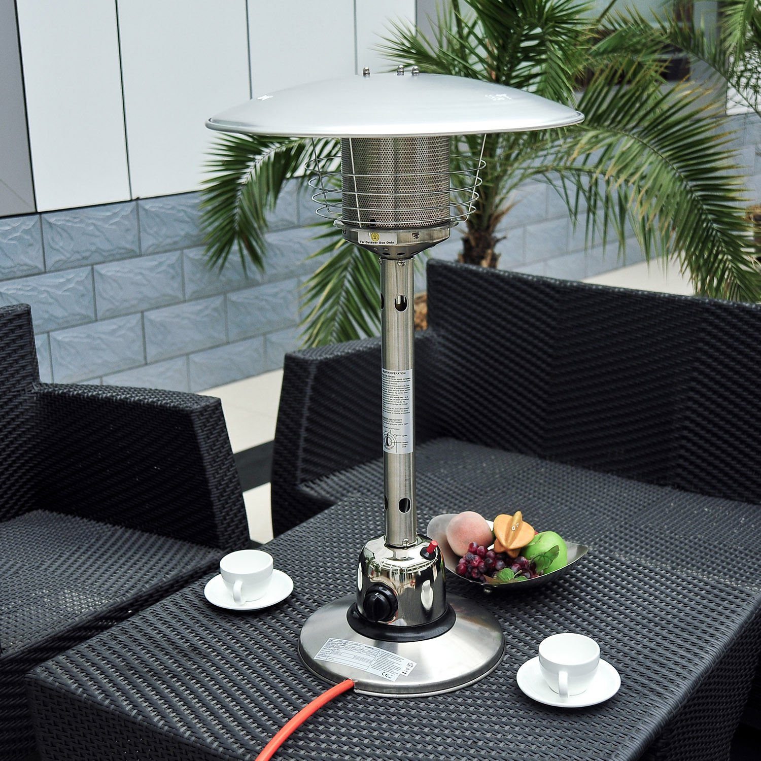 homcom 4 kw stainless steel table top gas patio heater silver rh amazon co uk Bedroom Furniture Home Goods Store