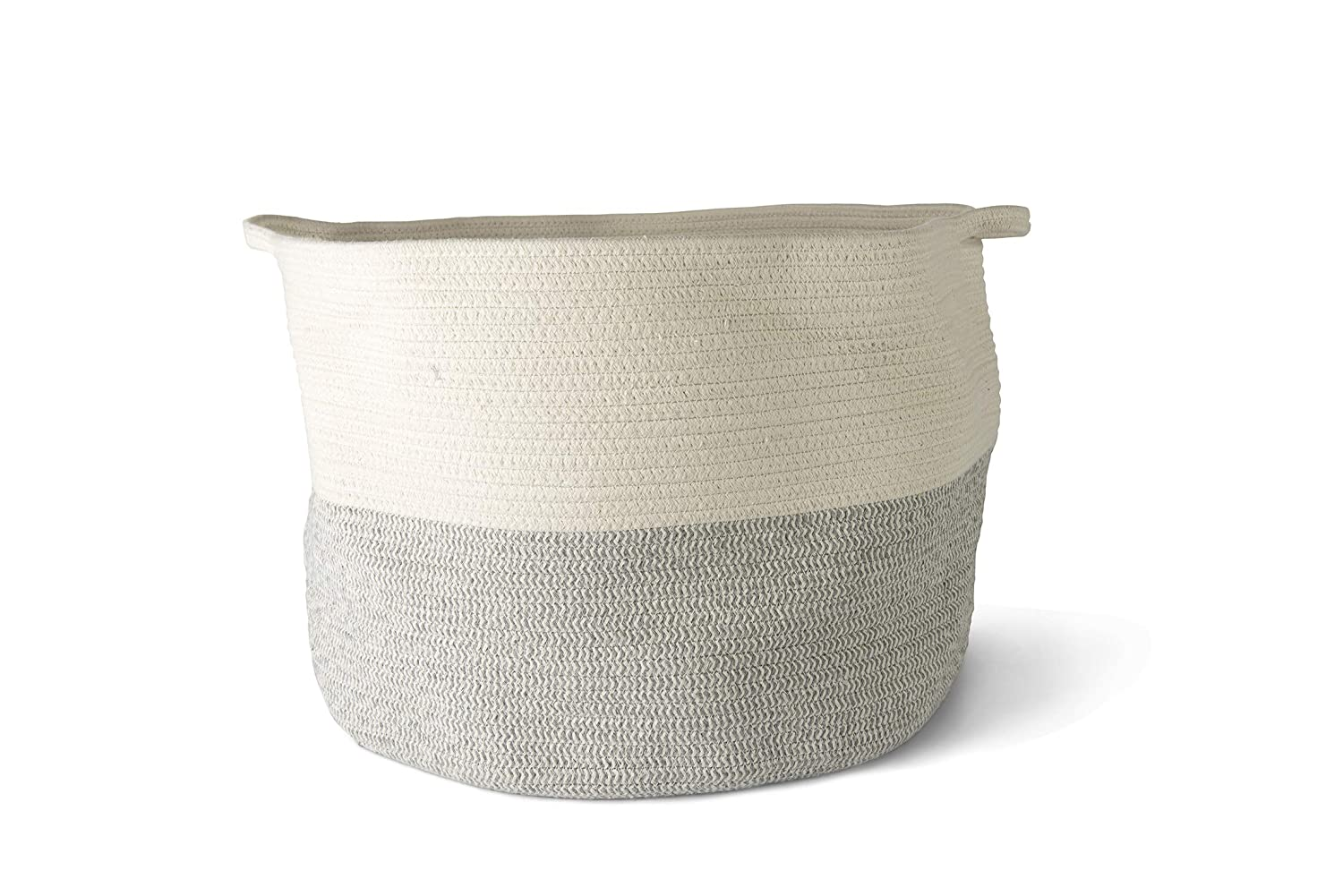 Organic Cotton Rope Basket Storage Woven Baby Laundry Basket with Diaper Toy Cute Neutral Home Décor (XXL)