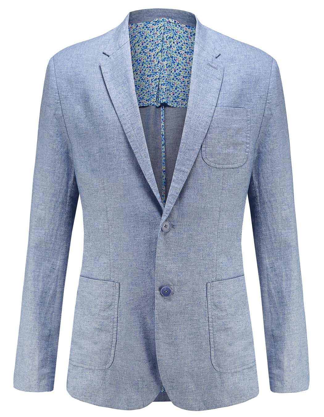 utcoco Mens Fashion Linen Slim Fit Lightweight 2 Button Sports Coat Suit Jacket (Medium, Blue)