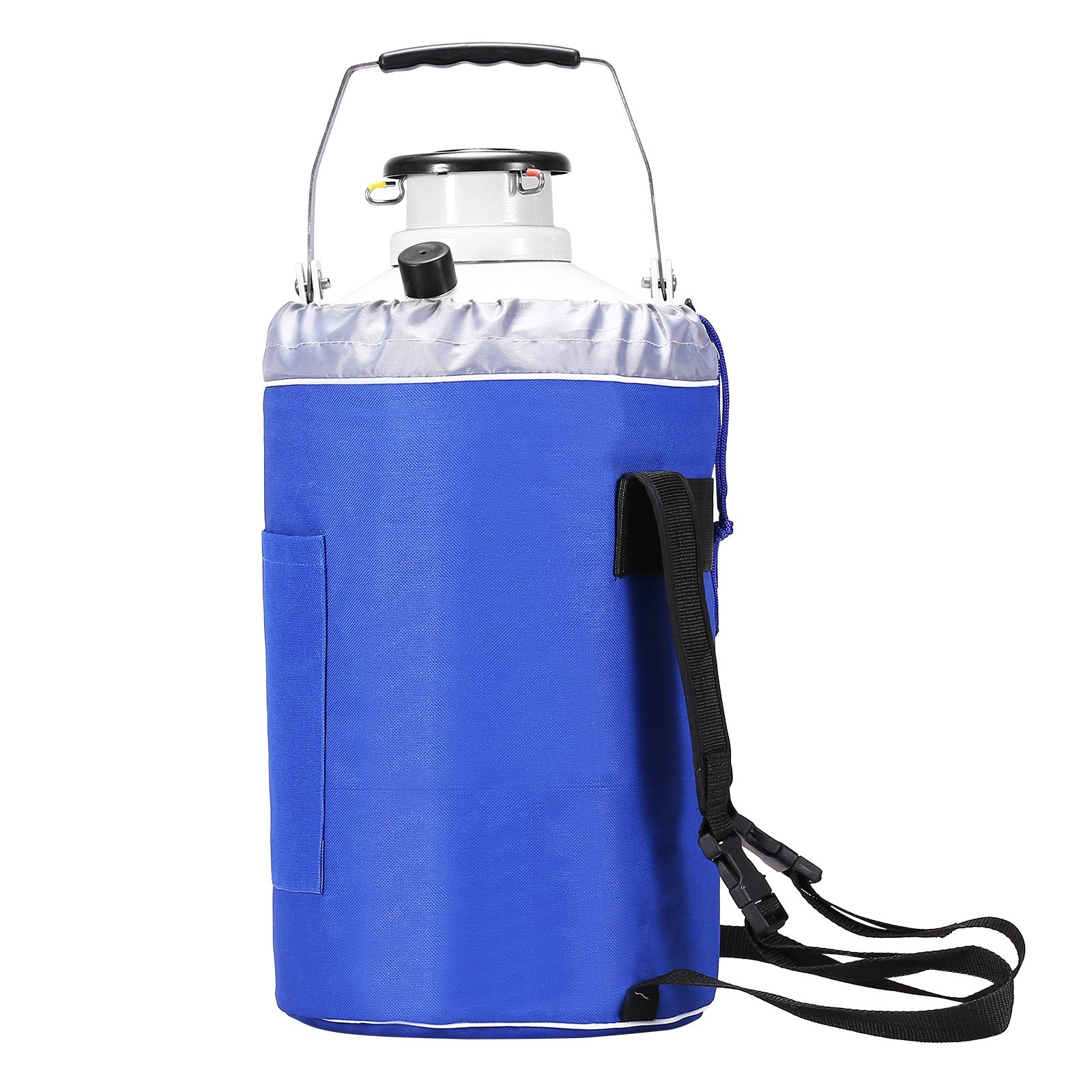 BestEquip Liquid Nitrogen Container Aluminum Alloy Liquid Nitrogen Tank Cryogenic Container with 3 Canisters and Carry Bag (3L) by BestEquip (Image #1)