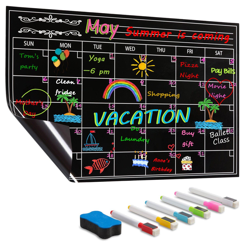 DOEWORKS 17''x11'' Magnetic Dry Erase Refrigerator Monthly Calendar Set, Fridge Magnetic Calendar Chalkboard with 6 Markers & Eraser