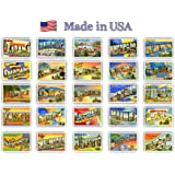 GREETINGS FROM American states vintage reprints (ca. 1930-1940's) postcard set of 50 postcards. Large letter name of each U.S. state post card variety pack. Made in USA.