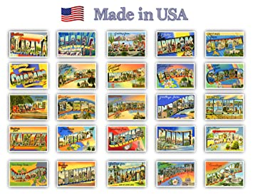 Greetings From American States Vintage Reprints Ca 1930 1940 S Postcard Set Of