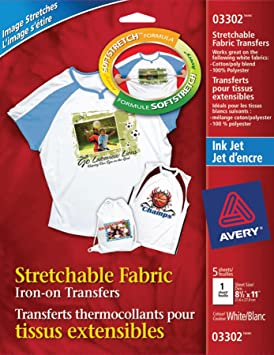 Avery Stretchable T Shirt Transfers For Inkjet Printers White 5 Pack 3302 Amazonca Office Products