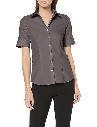 f69b0f75de8352 Seidensticker Damen Bluse – Bügelfreie, leicht taillierte Hemdbluse ...