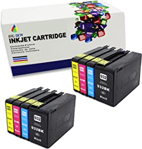 Big Dew Compaitble Ink Cartridge Replacement for HP 932 933 932XL 933XL Ink Use with HP OfficeJet 6100 6600 6700 7110 7510 7610 7612 7620 Printers (8PK-2B2C2M2Y)