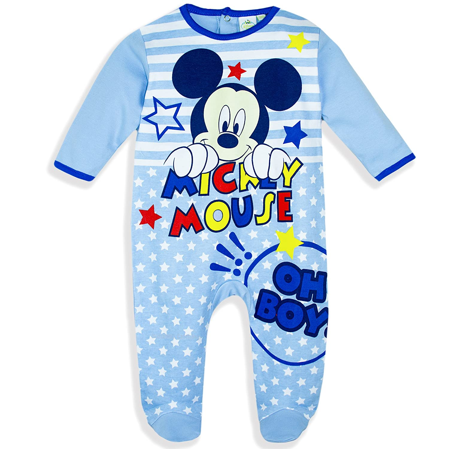 Mickey Mouse Disney Baby Babies Baby Boys Sleepsuit Pyjamas Onesie Gift Box 100% Cotton 0-24 Months - New 2017/18