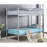 Merax Kids Metal Twin Over Twin Bunk Bed with Ladder Silver Finish