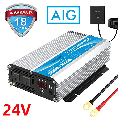 2000W Power Inverter DC 24 Volt to AC 110 120 Volt with Remote Control LED Display and USB Port for RV Truck Boat