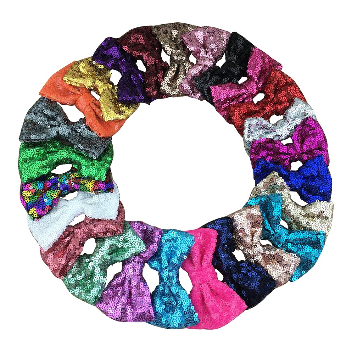 XIMA 25pcs Sequin Hairbows With Alligator Clips Baby Girl Hair Accessory 3'' Glitter Bows Toddler Hair Clip Sparkly Fabric Hair Bows for Kids Teens Toddlers Children