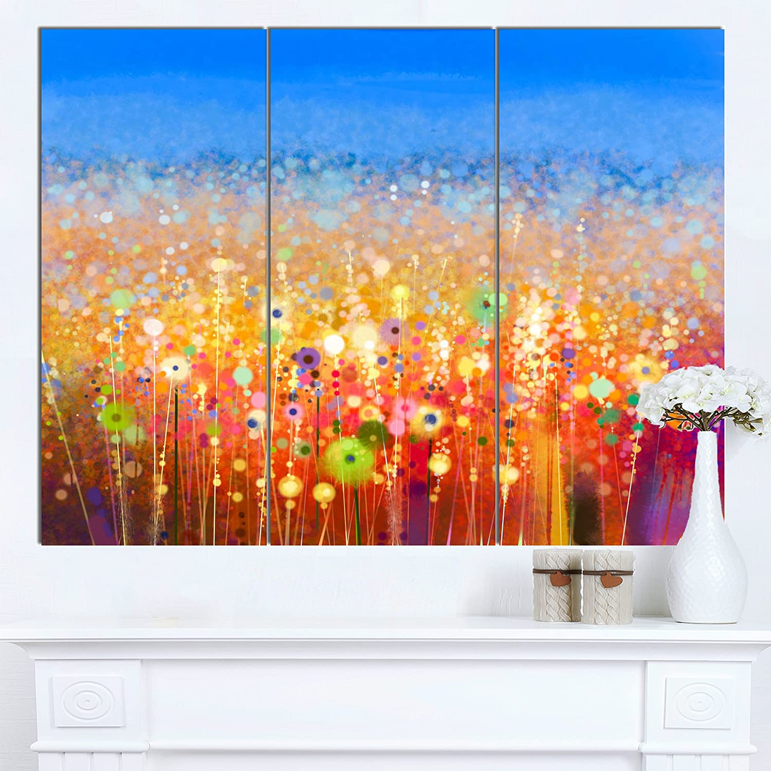 CDM product Designart PT15029-3P Abstract Flower Field Watercolor Painting Modern Floral Wall Art Canvas,36x28 big image
