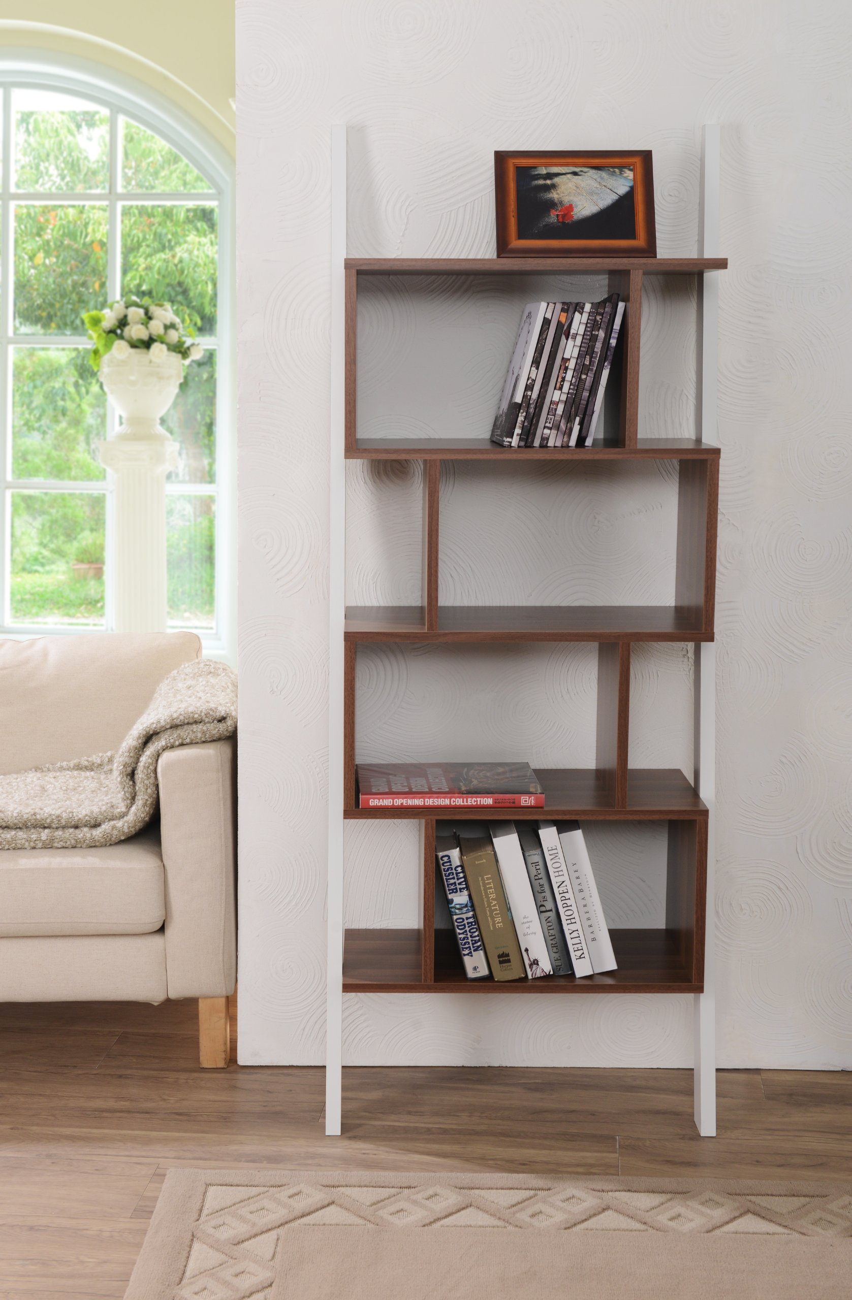 ioHOMES Medies Modern Bookcase and Display Stand, White and Walnut Finish
