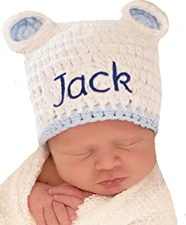 23d81967522 Melondipity Personalized White Sugar Bear Baby hat with Blue Trim