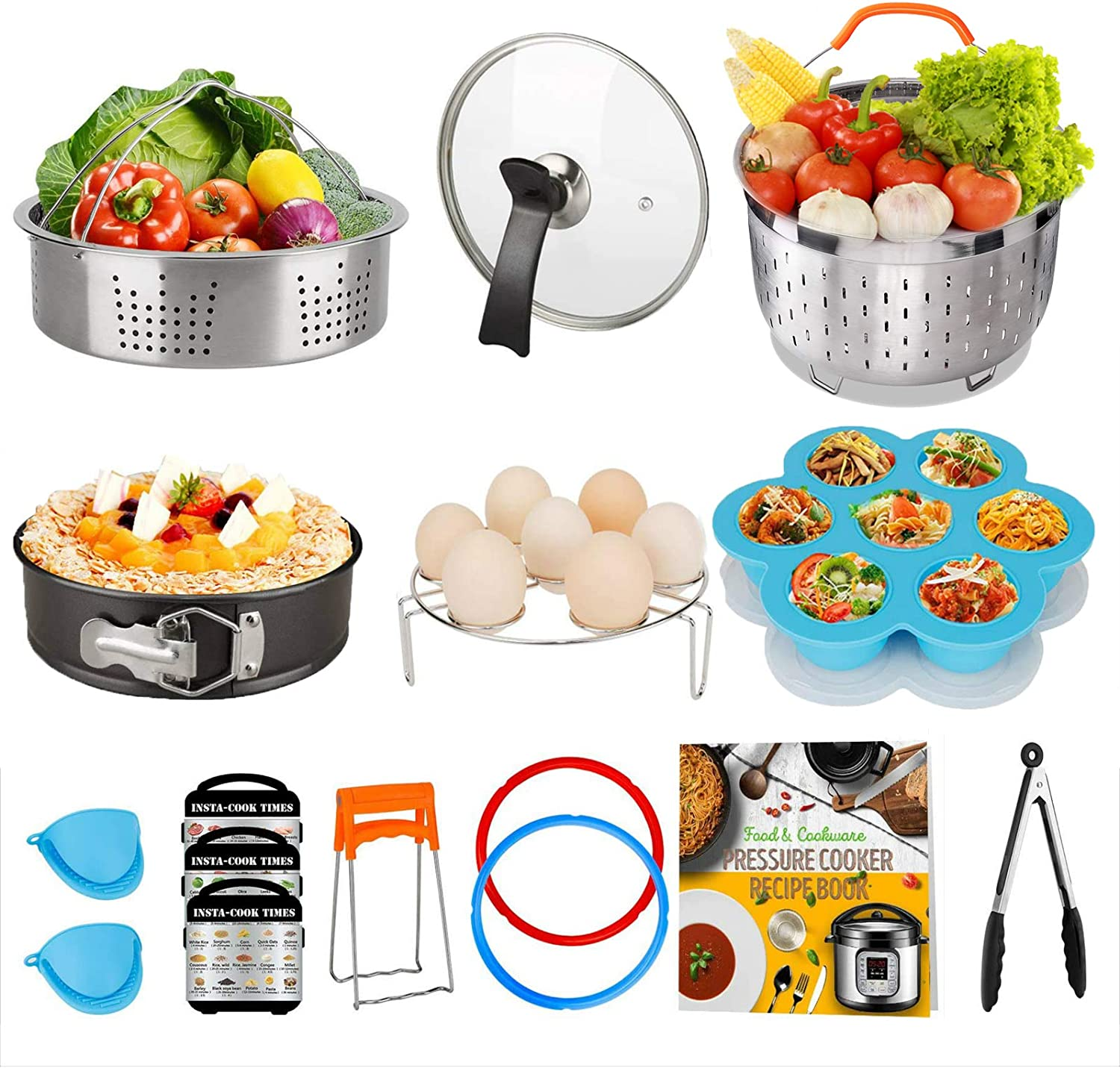 Cooking Accessories Set Compatible with Instant Pot 8 QT, 8 Quart Accessory Kit with 2 Baskets Glass Lid Silicone Sealing Rings Springform Pan Cookbook