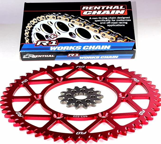 Renthal R1 Chain /& Sprocket Combo KIT SUZUKI RM-Z450 Front Sprocket 13 Tooth//Rear Sprocket 50 51 50T, Red 52 and 53 RED and BLACK